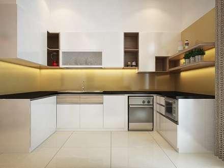 Chỉ cần bố trí các vật dụng hợp lý bạn sẽ có một không gian đầy cảm hứng.:  Tủ bếp by Công ty TNHH Xây Dựng TM DV Song Phát