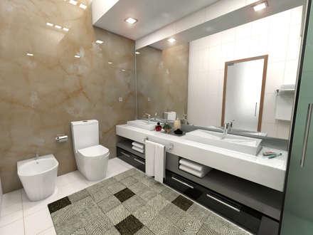 Casa Pré-fabricada T2 1 Piso - Portugal: Casas de banho minimalistas por Arbisland Arquitectura & Design