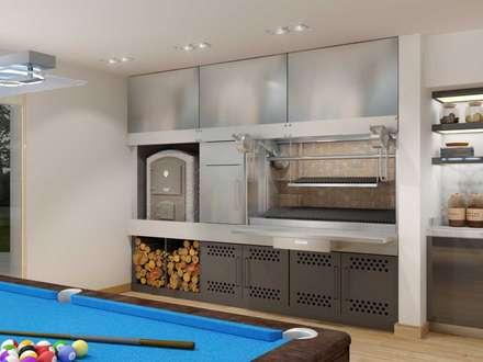 RENDERS INTERIORES DE VIVIENDA EN PILAR: Salas multimedia de estilo moderno por Javier Figueroa 3D