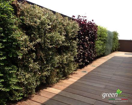 PARETE VEGETALE TERRAZZO: Giardino in stile in stile Mediterraneo di Green Habitat s.r.l.