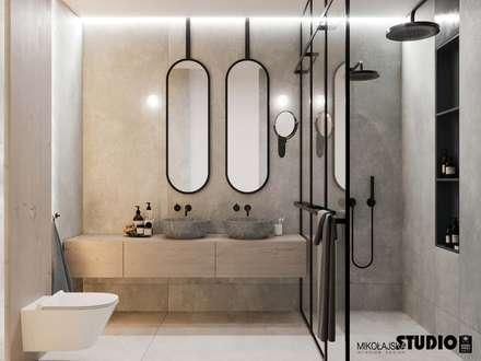 współczesna łazienka: styl , w kategorii Łazienka zaprojektowany przez MIKOŁAJSKAstudio