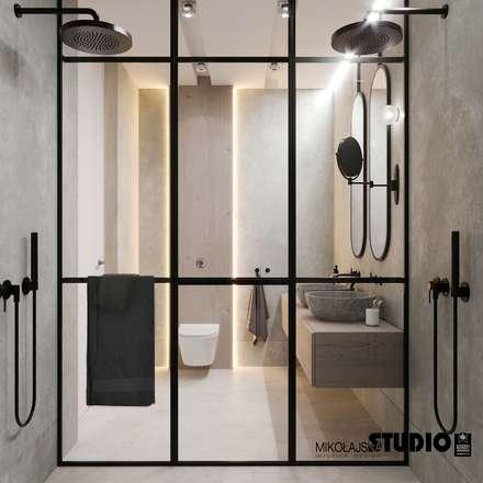 duży prysznic: styl , w kategorii Łazienka zaprojektowany przez MIKOŁAJSKAstudio