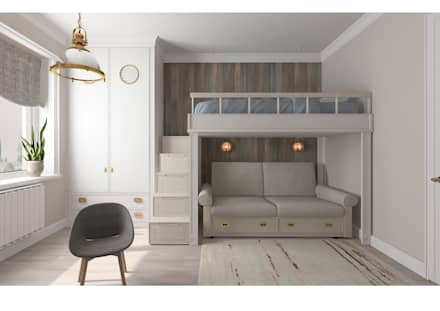 Светлая квартира с зонированием гостиной: Детские комнаты в . Автор – Альбина Романова