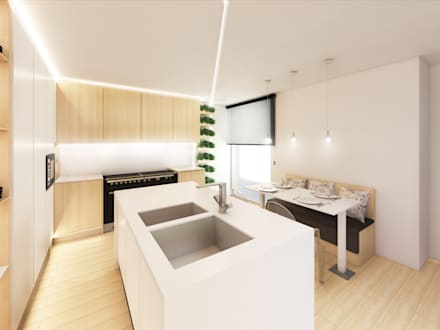 Cozinha em Vila Nova de Famalicão: Cozinhas embutidas  por Mia Arquitetos