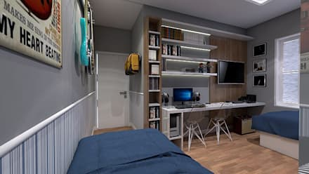 Habitaciones juveniles de estilo  por LK Studio Arquitetura