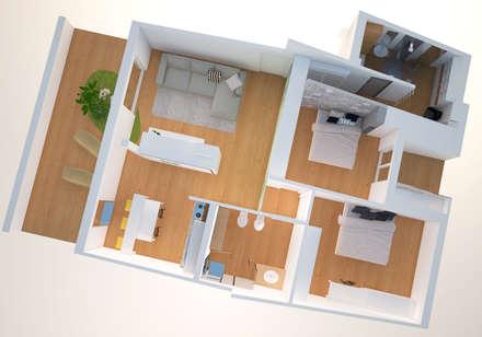 nuova distibuzione funzionale: Pavimento in stile  di Simone Fratta Architetto