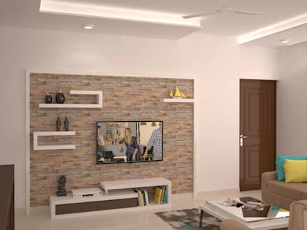 TV Unit With Display : Modern Living Room By NVT Quality Build Solution