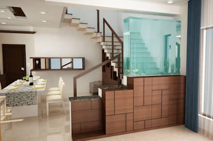 Stairs area other side with panel and Aquarium :  Stairs by NVT Quality Build solution