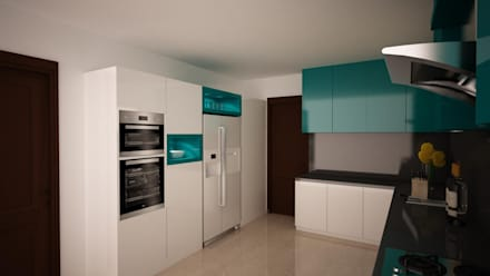 Kitchen Render - Triple colour combo : modern Kitchen by NVT Quality Build solution