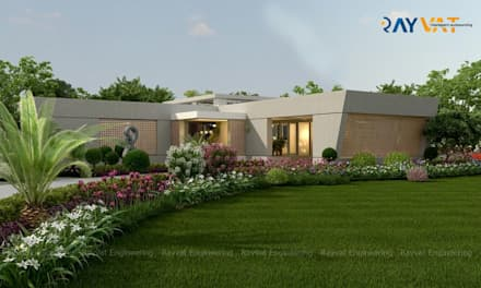 Exterior View of Farmhouse:  Country house by Rayvat Engineering