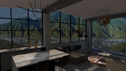 ARQUITECTURA. Casa Geyer: Salas de estilo ecléctico por Proyectos Kukenán SAS