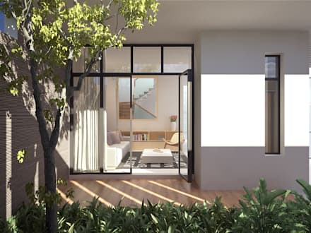 Không gian bên trong thoả mãn nhu cầu của chủ nhà với cách bố trí gọn gàng mạch lạc, đường nét tinh giản và hiện đại.:  Vườn by K5StudiO
