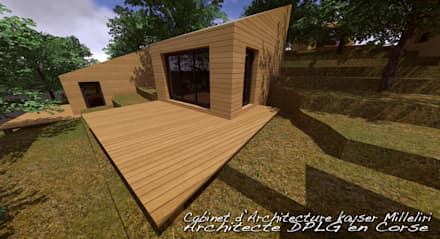 Log cabin by Cabinet d'Architecture Kayser Milleliri, Architecte DPLG en Corse