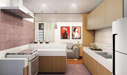 Apartamento Savassi: Cozinhas minimalistas por Bernardo Horta Arquiteto