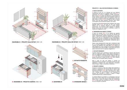 Apartamento Oito: Cozinhas minimalistas por Bernardo Horta Arquiteto