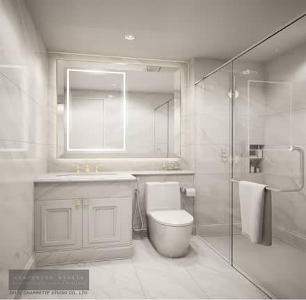 Bathroom 2:  ห้องน้ำ by Charrette Studio Co., Ltd.