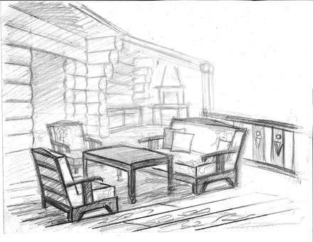Эскиз веранды для проекта бани: Tерраса в . Автор – Iv-Eugenie