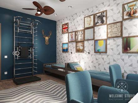 minimalistic Nursery/kid's room by Мастерская дизайна Welcome Studio