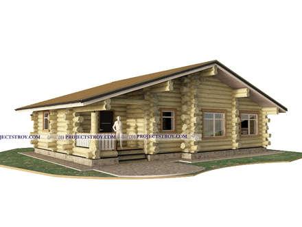 Деревянный одноэтажный дом из дикого бревна: Деревянные дома в . Автор – Projectstroy