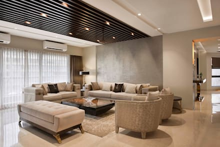 4BHK APARTMENT AT BKC: minimalistic Living room by Ar. Milind Pai