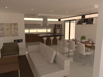 Opcion mobiliario estar y comedor: Comedores de estilo moderno por NAA