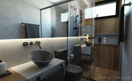 Banheiro Social  - Loft Residencial: Banheiros industriais por Rodrigo Westerich - Design de Interiores