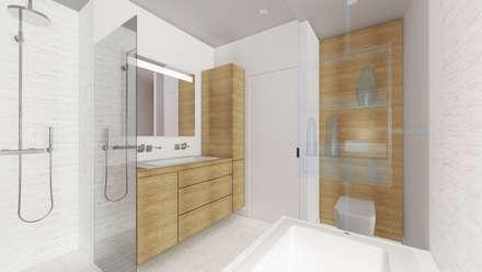 Salle de bains parentale.: Salle de bains de style  par Lionel CERTIER - Architecture d'intérieur