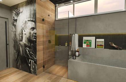 Banheiro para um Jogador de Futebol: Banheiros industriais por Rodrigo Westerich - Design de Interiores