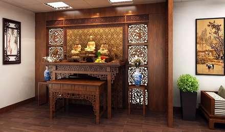 Phòng thờ yên tĩnh, thiêng liêng:  Nhà gia đình by Công ty TNHH Thiết Kế Xây Dựng Song Phát