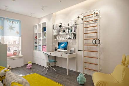 Квартира 80 кв.м. в современном стиле в ЖК «Квартал 38А»: Детские комнаты в . Автор – Студия архитектуры и дизайна Дарьи Ельниковой