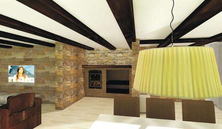 Barbacoa interior: Bodegas de estilo rústico de Asun Montoya Estudio Interiorismo