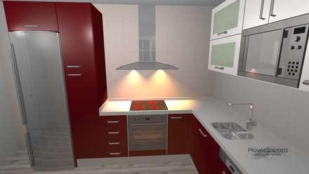 cocina,roja: Cocinas de estilo moderno de proyectoszeza