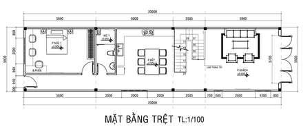 Mặt bằng tầng trệt nhà phố 2 tầng.:  Nhà by Công ty TNHH Xây Dựng TM DV Song Phát