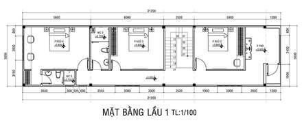 Mặt bằng tầng 2 nhà phố 2 tầng.:  Nhà gia đình by Công ty TNHH Thiết Kế Xây Dựng Song Phát