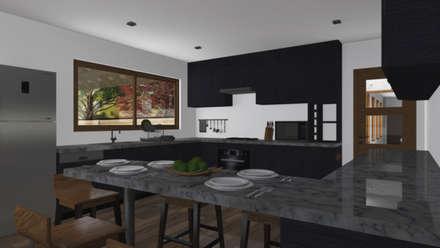 CASA M-M: Cocinas de estilo minimalista por Pro Aus Arquitectos