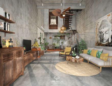 asian Living room by LEAF Design