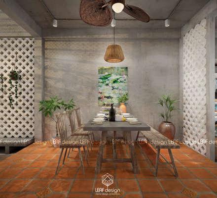 Cảm xúc Á Đông - Nhà phố Sài Gòn:  Phòng ăn by LEAF Design