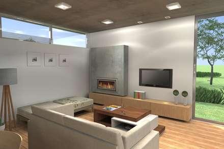 Diseño interior - Equipamiento para TV y estufa hogar: Livings de estilo moderno por Arquitectura Bur Zurita