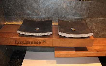 Black Stone Sink - Black Marble Sinks: asian Bathroom by Lux4home™ Indonesia
