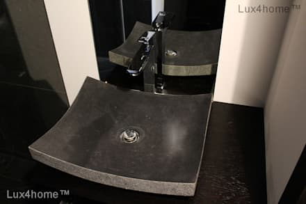 Black Stone Sink - Black Marble Sinks: minimalistic Bathroom by Lux4home™ Indonesia
