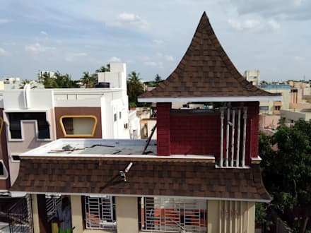 Burnt sienna color:  Roof by Sri Sai Architectural Products