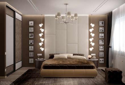 Дизайн спальни в стиле модернизм в квартире по ул.Гаражная, г.Краснодар: Спальни в . Автор – Студия интерьерного дизайна happy.design