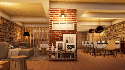 3D/Vista 1: Salas de estar industriais por ORMIGON /// ARQUITETURA