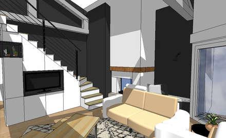 Le futur salon avec meuble sur-mesure sous escaliers: Escalier de style  par SUR MESURE