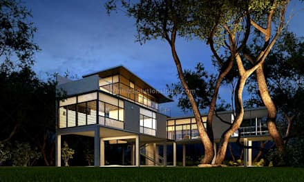 Architectural 3D exterior rendering:  Single family home by winbizsolutions