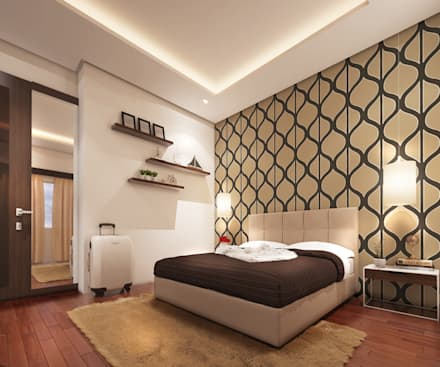 Mr. & Mrs. P Residence: modern Bedroom by TWINE Interior Design Studio