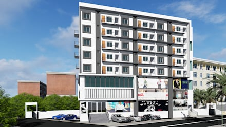 Corner 3D Elevation of Commercial cum Residential Building:  Multi-Family house by Cfolios Design And Construction Solutions Pvt Ltd