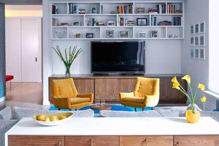Tribeca Apartment: modern Media room by Sarah Jefferys Design