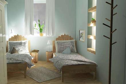 Ferienwohnung Märchenstuben: rustikale Schlafzimmer von Raum und Mensch