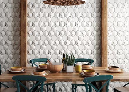 Magical 3 Oberland White, Scale Hexagon White 12,410,7 cm: Cocinas integrales de estilo  de Equipe Ceramicas